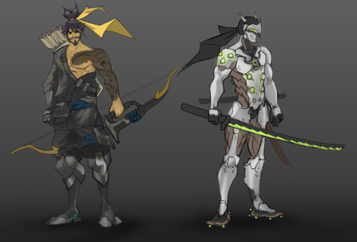 Hanzo and Genji by chyell