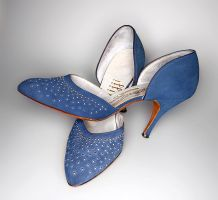 Vintage Denim Blue High Heels by xLilithScreamx