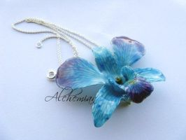 Real orchid necklace by AlchemianShop