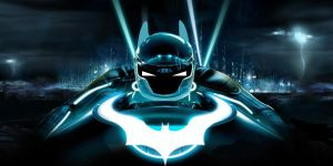 Tron Batman with Batcycle in Tron City by IGMAN51