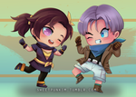 Chibi Trunks and Syrah by MoonlightTheWolf