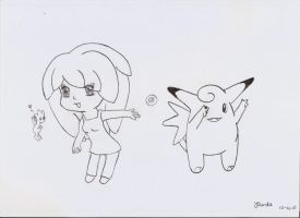 Togetic, Clefable and me. by RawrSheepy