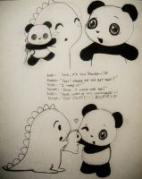Dino and Panda and Stuffies by MelodicInterval