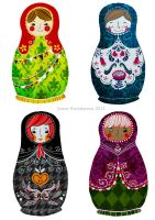 Matryoshka stickers by nei-no