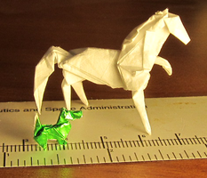 Tiny Origami Horse And Scottie by OrigamiPhoenix