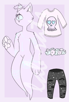 OTA Pastel Goth Cat Adoptable [CLOSED] by lab-rats
