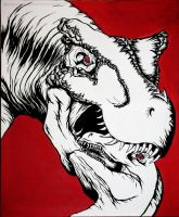 Black, White and Red Dinosaurs by TheFranology