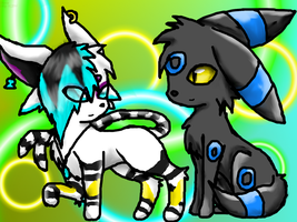 espeon1231 and a shiny umbreon by NoClueSoItsSyrria