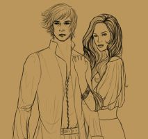 Rand and Aviendha WIP by livska