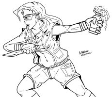 Female Soldier - Inking by archaznable30