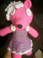 Pink Teddy Commission 2 by CrotchetyCrocheting