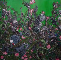 Awry.  Robots vs Flowers, 2005 by michaelboarts