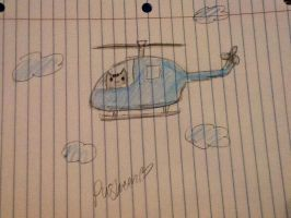 Pusheen in a helicopter by HanbusaZERO