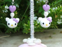 Hello Kitty lilac earrings by Libellulina