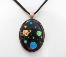 Copper Oval Space Pendant by poisons-sanity