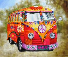 Yarn bombed VW Camper by veracauwenberghs