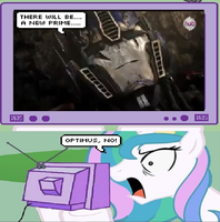 Celestia Reaction to Optimus Prime Is Gone by KeybladeMagicDan