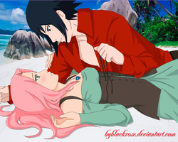 SasuSaku pirates on the beach by byBlackRose