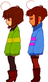 frisk and chara comparison by BASEDGUMMY