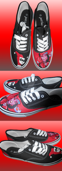 Harley Quinn Inspired Hand Painted Shoes by DruidicDesigns