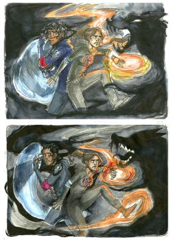 Spectre fight by LilyScribbles