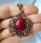 Big Ruby and Copper Pendant by blackcurrantjewelry
