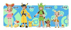 Pokemon: Ash,Serena,Clemont,and Bonnie by creeper125689