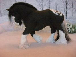 OOAK wool felt fabric model vanner horse 'Zac' by Tawneyhorses