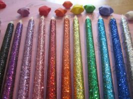 Rainbow Glitter Pencils by Bunneahmunkeah