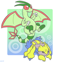 Goofy Flygon and Galvantula by raizy