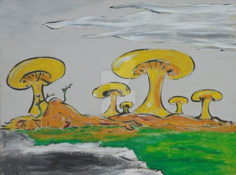 Quiet Landscape With Mushrooms by gabcoe43