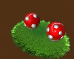 Mushrooms in grass by JustDippin