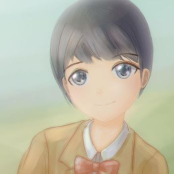 a girl with short hair by Higeneko9