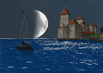 Castle on the sea. Quick sketching. by Kligan