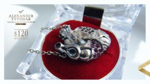Cor nigrum - Necklace gothic silver heart , black by tivodar66