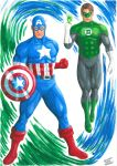 CAPTAIN AMERICA  and GREEN LANTERN by TIAGO-FERNANDES