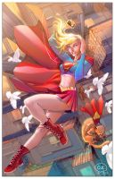 Supergirl and Streaky the Supercat. by OZartwork