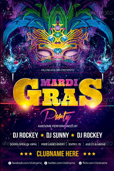 Mardi Gras Party Flyer PSD Template by AudioNeptune