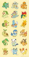 Pokemon Starter Stickers by llllucid