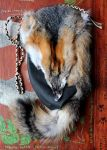 Gray Fox and Leather Shoulder Bag by lupagreenwolf