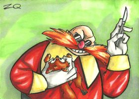 Classic Eggman/ Dr. Robotnick Sketchcard by ibroussardart