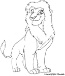 Lion again lineart by Lil-Cheetah