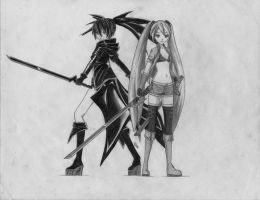 Black Rock Shooter and Hatsune Miku by 73RO