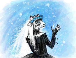 Tigress and snow by MarinaDevyaterikova