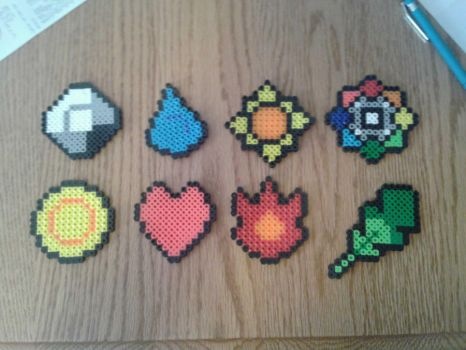 Pokemon Gym Badges in Perler Bead form by imprialmog