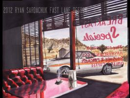 Sonora Lunch Hour (1972 Ford Ranchero Painting) by FastLaneIllustration