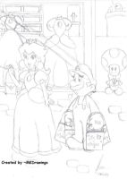 Mario and Peach At Shopping by MKDrawings