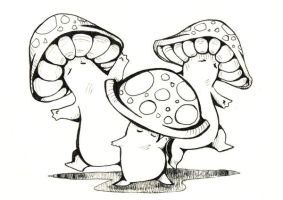 Dancing Mushrooms by MagicBunnyArt