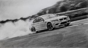 BMW drifting by long-haired-lady