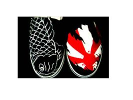 Custom Koi n Rising Sun Slipon by spilledpaint88